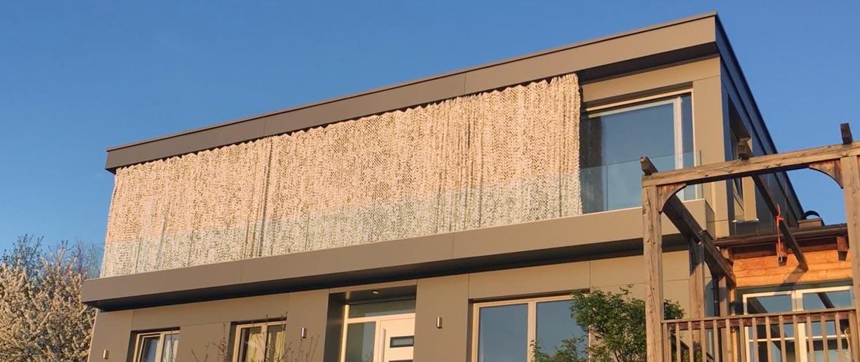 Soliday Outdoorvorhänge braun teilweise geschlossen