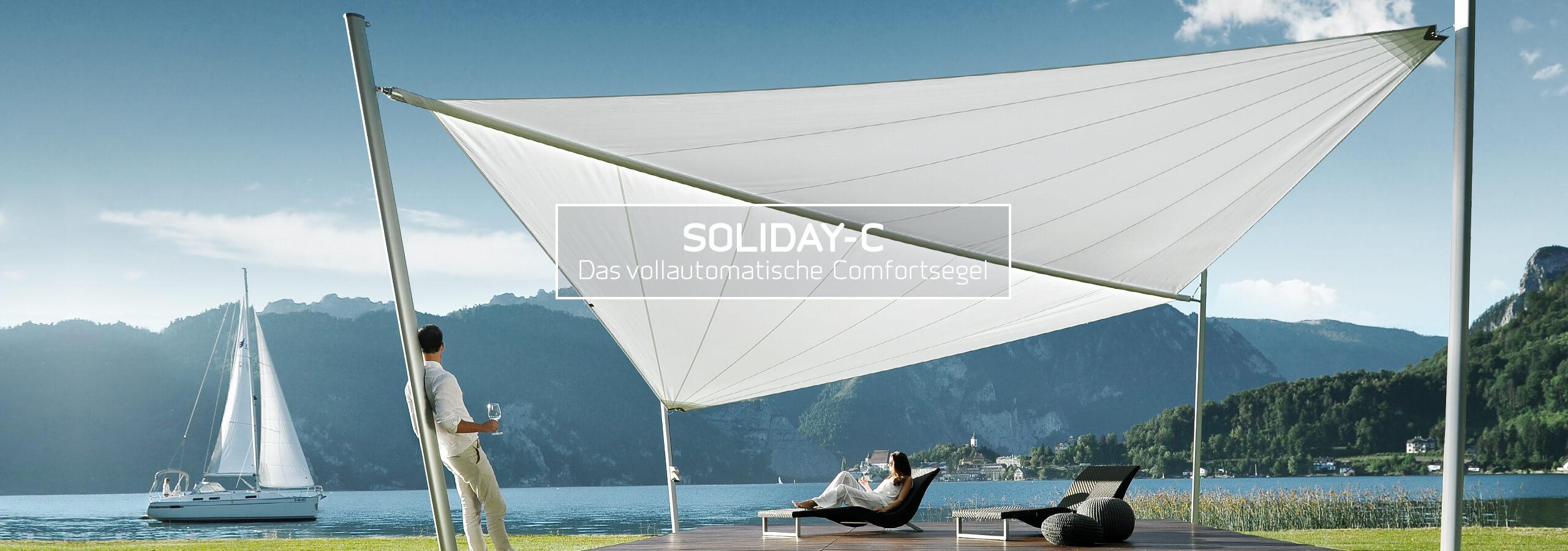 Soliday C Sonnensegel auf Terrasse am See